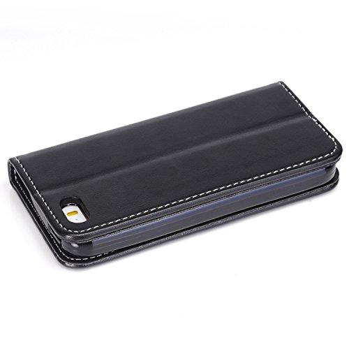 Migliore Choise Flip Case per iPhone 5& 5S & SE Rose in rilievo in pelle PU portafoglio Shell folio standabdeckung w titolare in chiusura magnetica regalo perfetto Black