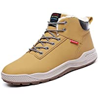 Sixspace Winter Boots Mens Snow Boots Ankle Walking Shoes Work Footwear with Waterproof Leather Outdoor Warm Fur Lining and Non-Slip Rubber Sole for Walking Hiking Camping, Khaki, Size 12.5 UK 47 EU