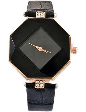 MJartoria Damen Armbanduhr Quarz Uhr Modeschmuck PU Lederarmband Mode Design Schwarz