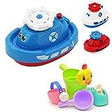 WRUMLJUFX Baby Baby Bad Spielzeug Elektrische Wasserspray schwimmende Kleine Dampfer Jungen und Mädchen Kinder Badezimmer Schwimmen Wasser Spielen, Bad-Set von 4