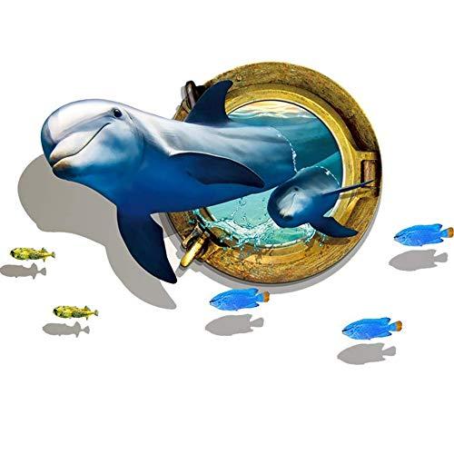 Elebeauty 3D Dauphin Stickers Muraux Animaux Marins Enfant Autocollants  Décoratifs Muraux Décor Pour Chambre à Coucher