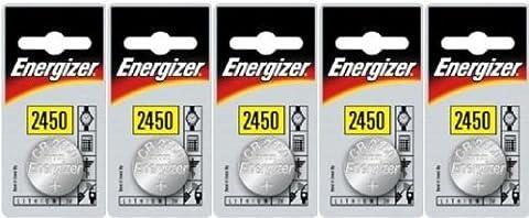 Energizer CR2450 DL2450 Lot de 5 piles bouton3V au lithium