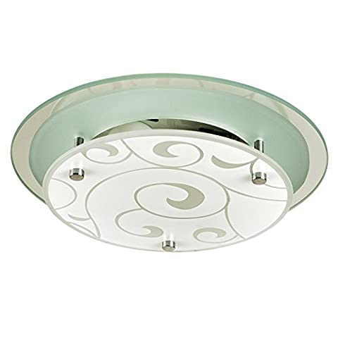 Small Elegant Round Circular Opal White Frosted Glass Etched Vines Pattern Flush Ceiling Light