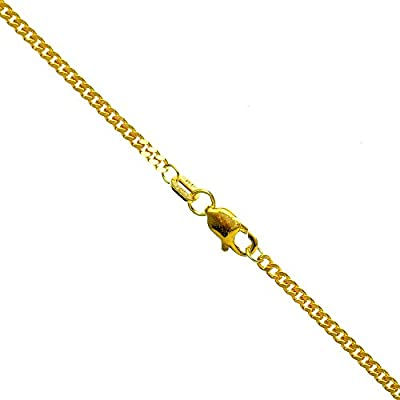 14K YELLOW Gold SOLID ITALY CUBAN Chain - 24 Inches Long 2MM Wide