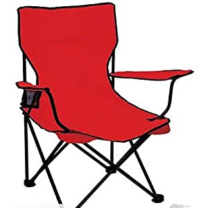Inditradition Folding Garden Chair | Ideal for Camping, Travelling, Lawn, Patio, Perfect for Adult (Red)