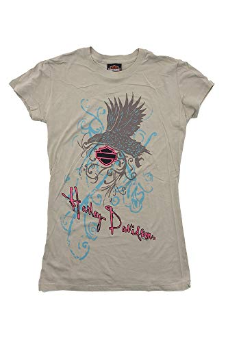 HARLEY-DAVIDSON Original HD Damen T-Shirt für Biker - Tribal Eagle Pink Harley Harley T-Shirt für Biker Ladys - beige-Sand, Größe:S