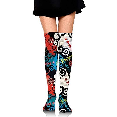 OQUYCZ Women's Dark Spiral Puzzle Forms Graffiti Inspiration Grunge Style Street Art Culture Warm Knee High Socks