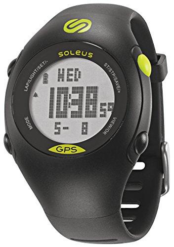 Soleus GPS - Mini reloj de corredor con monitor de actividad física y de salud, negro/verde lima