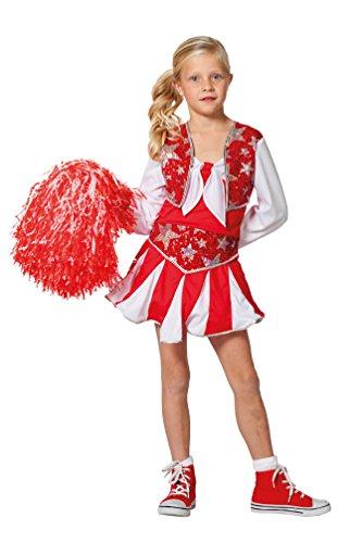 Karneval-Klamotten Cheerleader Kostüm Kinder Mädchen-Kostüm Kleid rot-weiß-Silber Karneval Fasching Größe ()