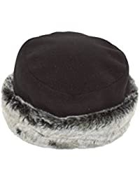 Black fleece ladies hat with grey fake fur trim. One size