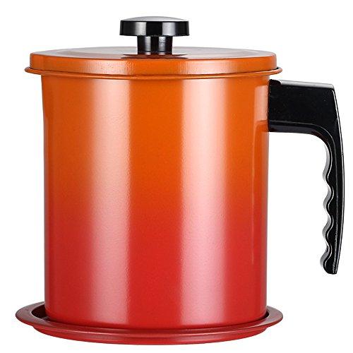 TAMUME 1.6L Edelstahl Ölsieb Topf, Fettfilter und Ölbehälter mit Deckel und Rutschsichelhalter (Orange) -