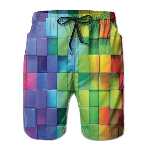 FGHJKL Men Swim Trunks Beach Shorts,Rainbow Colored Contour Display Futuristic Block Brick-Like Geometric Artisan M -