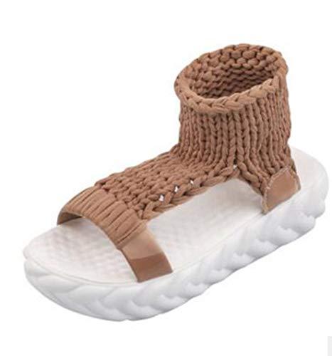 Frauen Sommer Sandalen Casual Wolle Stricken Flache Plattform Peep Toe Schuhe Weibliche Nette Candy Farbe Prägnante Freizeit Sandalen - Sandalen Für Frauen-plattform Qupid