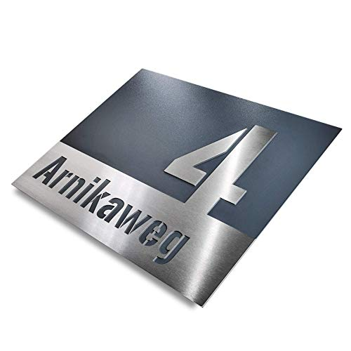 Hausnummer-Plakette Edelstahl-Schild - modern design - Straßenname Anthrazit RAL 7016 rostfrei - Unterputz (L 175x250 mm)