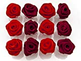 OiA Brand | Pack of 12 PCS | Rose Hair Clips Claws | Hair Accessories for Women, Children, Kids| Hair Pin | Flowers for Hairstyling (Red)