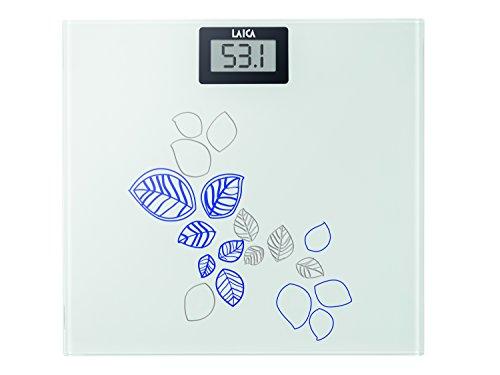 Laica PS1058B - Báscula de baño de cristal, electrónica, capacidad 150 kg, color flores azul