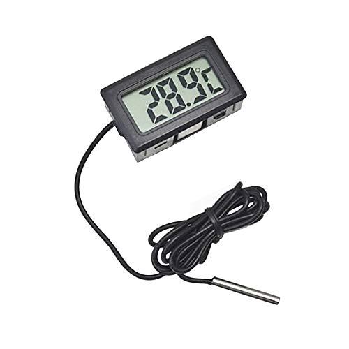 Mein HERZ LCD Temperatursensor Kühlschrank-Thermometer Aquarium-Thermometer Digitalanzeige Thermometer Starkes Entstören Temperaturbereich -50 bis 110°C(Schwarz)