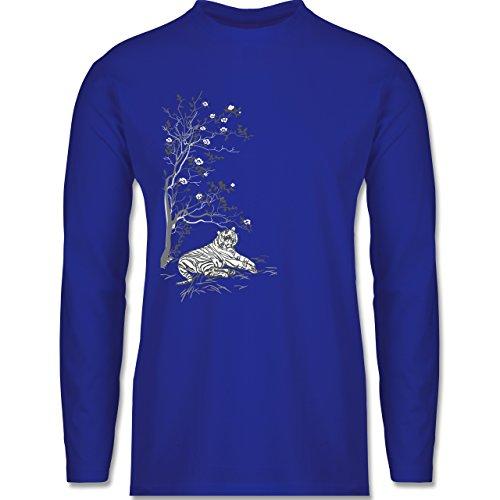 Shirtracer Vintage - Tiger Kirschblüten Baum - Herren Langarmshirt Royalblau