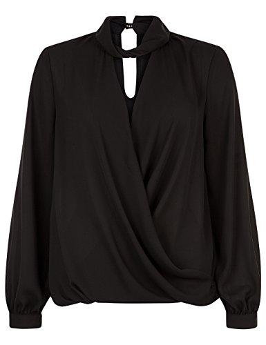 Lipsy Damen Lipsy Shirt Wickeloptik Choker Detail Langarm Bluse Normale Passform Schwarz