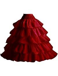 Edith qi Petticoat Enagua 3/4/6 Aros, Largo Miriñaque, Crinolina Vestido de Novia, Aros Ajustable, Un tamaño,…