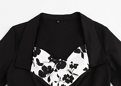 IMUYI Femme Vintage 1950 manches demi Rockabilly Balançoire Party Robe BlackFloral