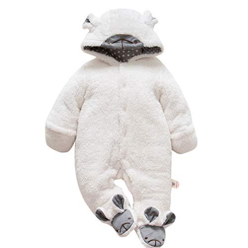 JEELINBORE Baby Strampler Pyjama Tier Kostüme Plüsch Tieroutfit Cosplay Jumpsuit Spielanzug Winter Nachtwäsche mit Kapuze (Weiß Schaf, 90CM)