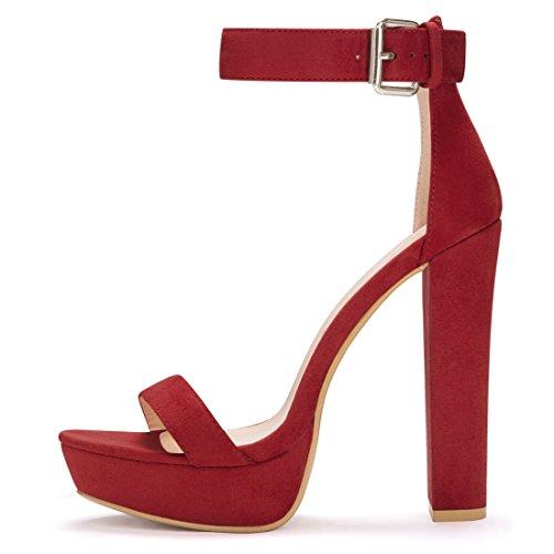 Allegra K Donna Alta Grosso Tacco Cinturino Alla Caviglia Sandali Piattaforma ci Nero 7 Red
