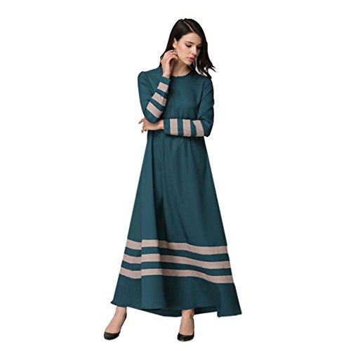 Meijunter Femme Musulman vêtements Islamic Manche longue Patchwork Couleur Bande Maxi Dress Robes Navy blue
