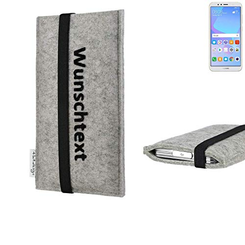 flat.design Handytasche Coimbra mit Name Wunschtext und Gummiband für Huawei Y6 (2018) Dual-SIM- personalisierte Schutzhülle Etui Case Pouch - passgenaue Handyhülle für Huawei Y6 (2018) Dual-SIM