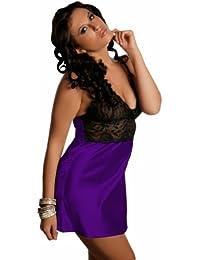 Ninex De luxe chemise de nuit en satin , nuisette T38-52, 6 Couleurs. Made in EU Purple 2XL n