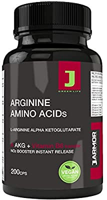 J.ARMOR Vegan Supplement L Arginine Akg Amino Acid + Vitamin B6-200 Pure Powder Capsules -Nitric Oxide - Muscle Pre Workout Pump Sexual Vigor - Power Strength and Muscle Recovery by J.Armor Nutrition