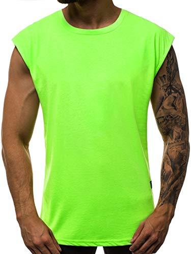 OZONEE Herren Tanktop Tank Top Tankshirt T-Shirt Unterhemden Ärmellos Muskelshirt Sport O/1265 GRÜN-NEON L - Für Männer Unterhemden ärmellose