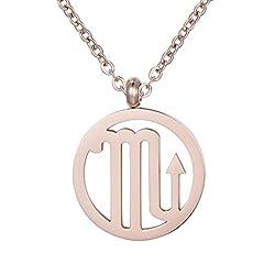 Idea Regalo - Morella collana da donna in acciaio inox oro rosa con ciondolo segno zodiacale Scorpione in sacchetto di velluto