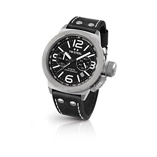 TW Steel CS3en acier inoxydable pour homme Canteen Bracelet cuir noir Band Cadran noir montre