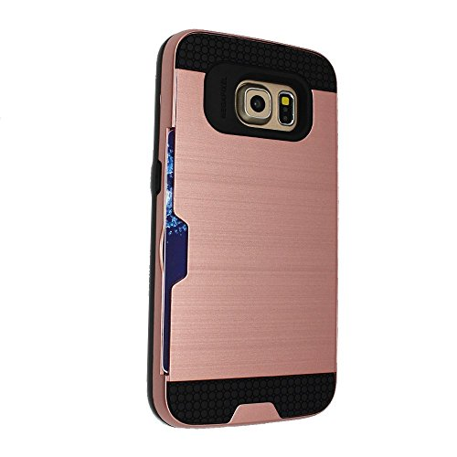 Kamal Star® iPhone 6 Plus / 6S Plus - Dual Layer Slim Armour Hybrid Hard Cover Case with Credit Card Holder + Free Stylus (iPhone 6 Plus / 6S Plus, HB Black) HB Rose Gold