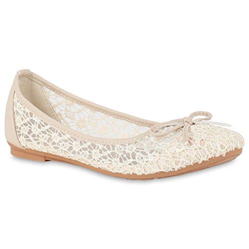 Klassische Damen Ballerinas Flats Slipper Flache Übergrößen Spitze Metallic Glitzer Schuhe 140139 Spitze Creme 37 Flandell