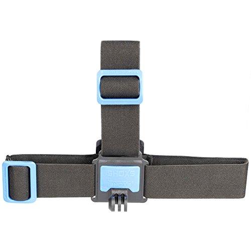 iSHOXS Head Strap Stirnband - Action-Cam Kopf-Halterung für GoPro Hero und kompatible Action-Kameras, Kopfband auch zur Verwendung mit Helm geeignet