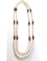 Lady Touch Marron Red White Moti Necklace For Girls And Women