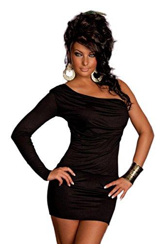 Fashion4Young - Robe - Asymétrique - Femme noir Schwarz Schwarz