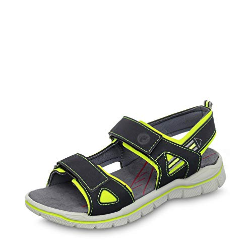 RICOSTA 6227701-757 Jungen Sandale aus Lederimitat Klettverschluss Weite Mittel, Groesse 35, dunkelblau/gelb