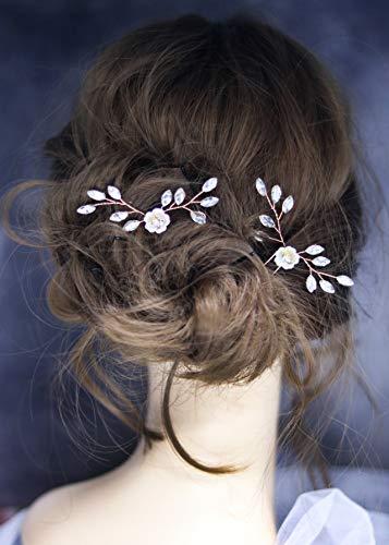 Kercisbeauty (set da 2) da sposa, damigella flower girl bianco fiore e foglia spille per capelli copricapo per prom