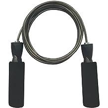 Homello Cuerda de Saltar Skipping Rope Cable Ajustable Comba de Velocidad - Combas Crossfit - Unisex - Rodamientos - Crossfit WOD - Boxeo - Fitness - MMA - Double Under - Entrenamientos Cardio - Ejercicio Aeróbico - Ejercicio Físico - La mejor cuerda que salta de la velocidad para los niños, los adultos y el principiante (Negro)