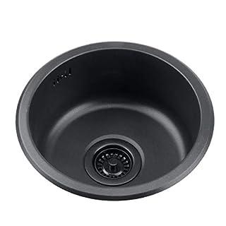 Bath Fixtures Black round sink Kitchen renovation pool Round single sink Small sink Bathroom round washbasin Washing vegetables and dishwashing pool Household sink Single Bowl