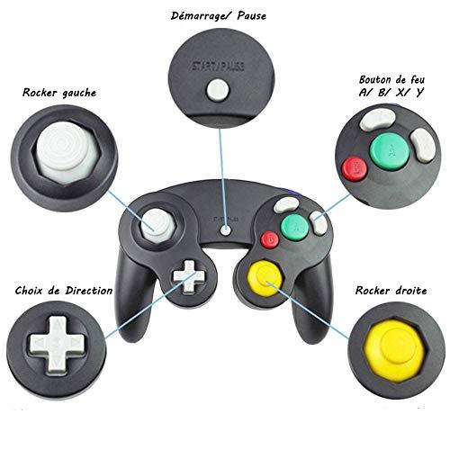 YFish Contrôleur Switch Classique USB Charge, Noir Manette Filaire Table de Gamepad Bouton Précis pour Gamecube nentendo wii