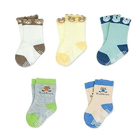 Baby Toddler Kids Antiskid Socks Non Anti Slip 5 Pairs Cotton Sock for Girls Boys Cartoon Bear 1-2 Year
