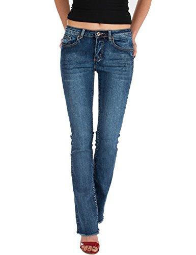 Fraternel Damen Jeans Hosen Bootcut Regular Waist Stretch ausgefranst Blau L / 40 - W30 (Leg Wide Rise Low)