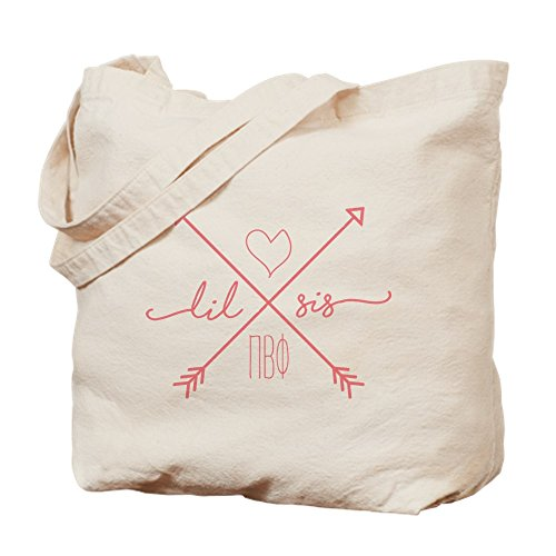 CafePress Pi Beta Phi Lil Sis Arrows Tragetasche, canvas, khaki, S - Arrow Khaki