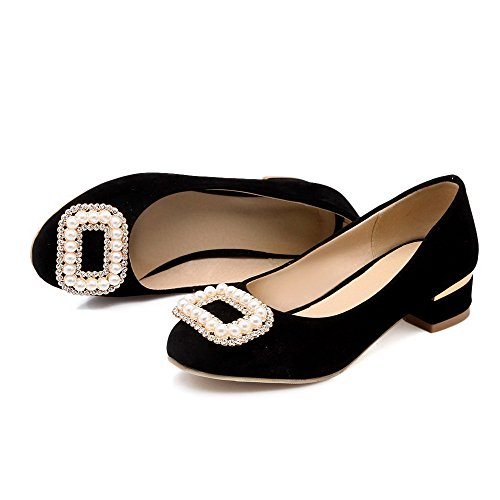 AgooLar Damen Mattglasbirne Rund Zehe Niedriger Absatz Ziehen Auf Eingelegt Pumps Schuhe Schwarz