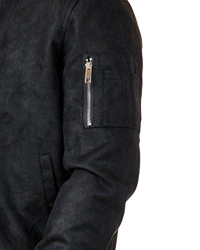 EightyFive Herren Bomber-Jacke Übergangsjacke Schwarz Khaki Camouflage EFS150, Größe:S, Farbe:Schwarz Suede - 4