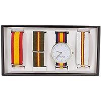 SET. Reloj España con pulseras intercambiables con la bandera, presentado en estuche y bolsa